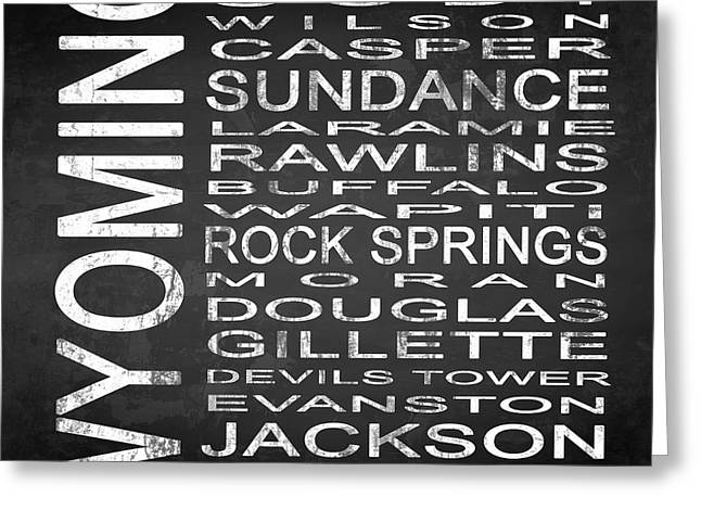 Evanston Greeting Cards - SUBWAY Wyoming State Square Greeting Card by Melissa Smith