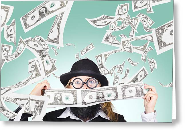 Successful American Businessman With Lots Of Money Greeting Card by Jorgo Photography - Wall Art Gallery