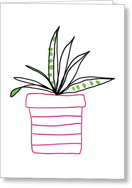 Succulent In A Pink Pot- Art By Linda Woods Greeting Card by Linda Woods