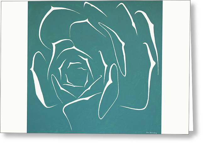 Greeting Card featuring the painting Succulent In Turquoise by Ben Gertsberg