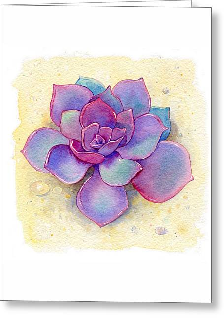 Succulent One Greeting Card by Laura Nikiel
