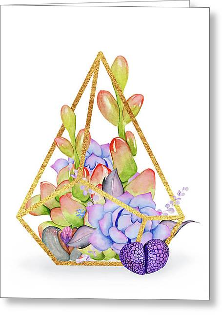 Succulent Plant Terrarium, Succulents And A Gold Wire Terrarium Greeting Card by Tina Lavoie