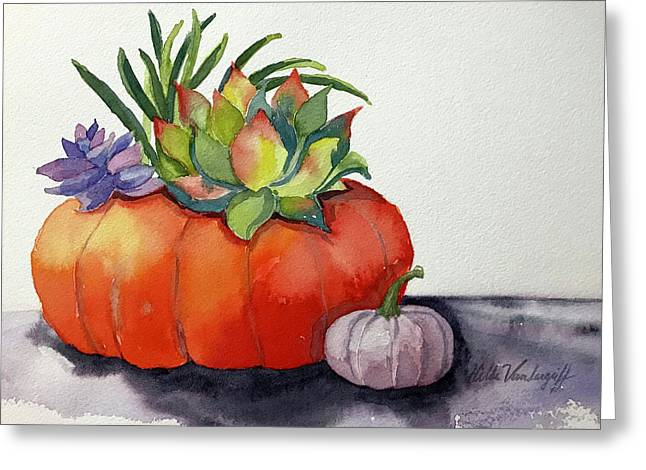 Succulents In Pumpkin Greeting Card