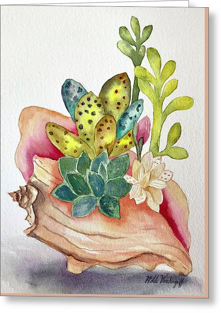 Succulents In Shell Greeting Card