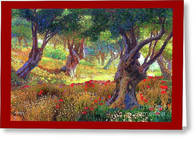 Greeting Card featuring the painting Tranquil Grove Of Poppies And Olive Trees by Jane Small