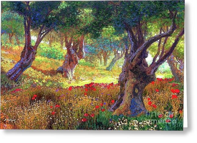 Tranquil Grove Of Poppies And Olive Trees Greeting Card
