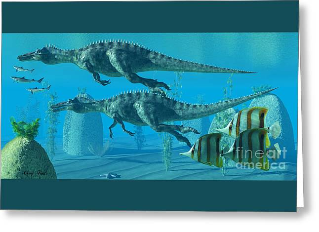 Suchomimus Dive Greeting Card by Corey Ford