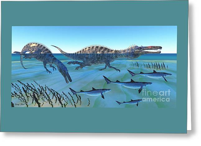 Suchomimus Hunting Fish Greeting Card by Corey Ford
