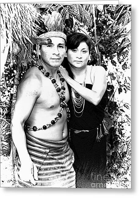 Greeting Card featuring the photograph Sucua Shaman And Spouse by Al Bourassa