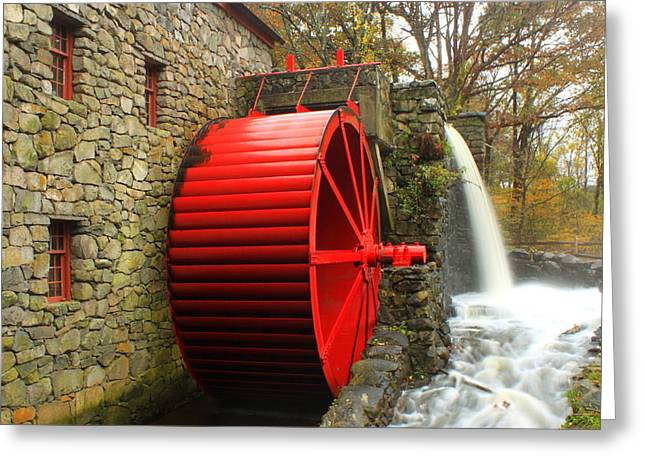 Sudbury Greeting Cards - Sudbury Grist Mill Water Wheel Greeting Card by John Burk