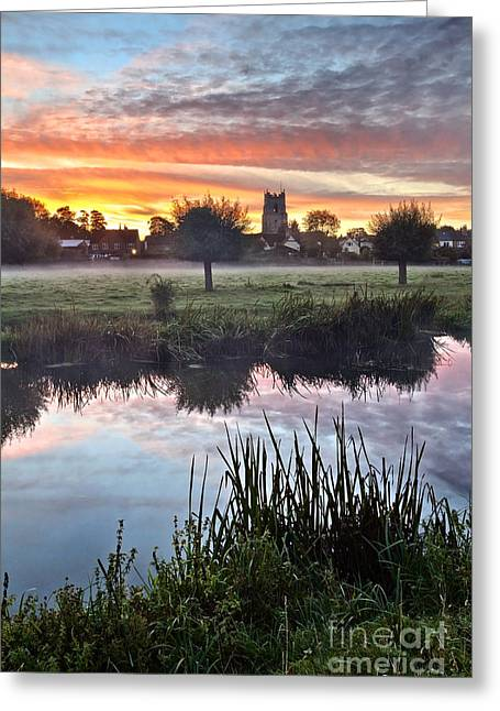 Sudbury Water Meadows At Dawn Greeting Card by Mark Sunderland