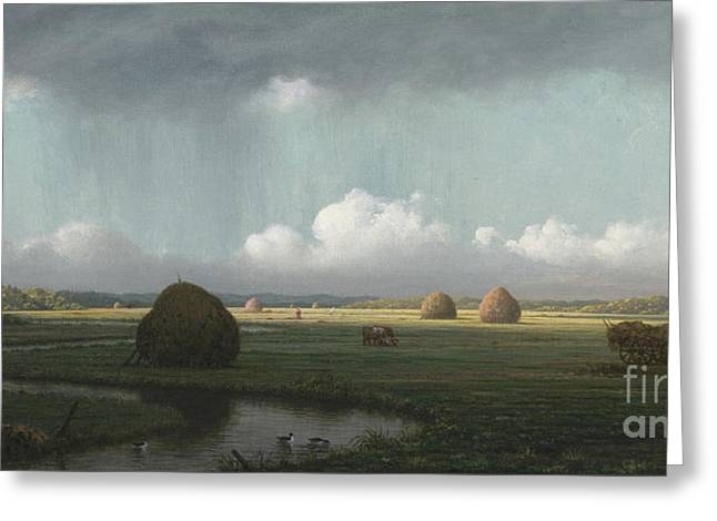 Sudden Shower, Newbury Marshes Greeting Card