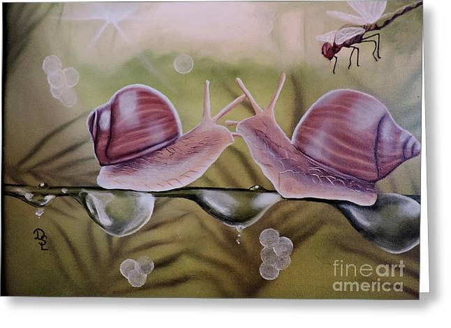 Sue And Sammy Snail Greeting Card