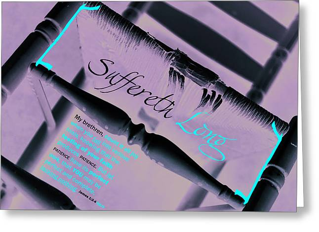 Suffereth Long Greeting Card by Affini Woodley