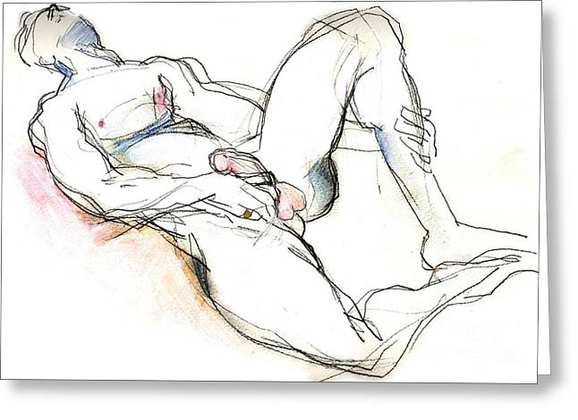 Greeting Card featuring the mixed media Suffering Is Optional - Male Nude  by Carolyn Weltman