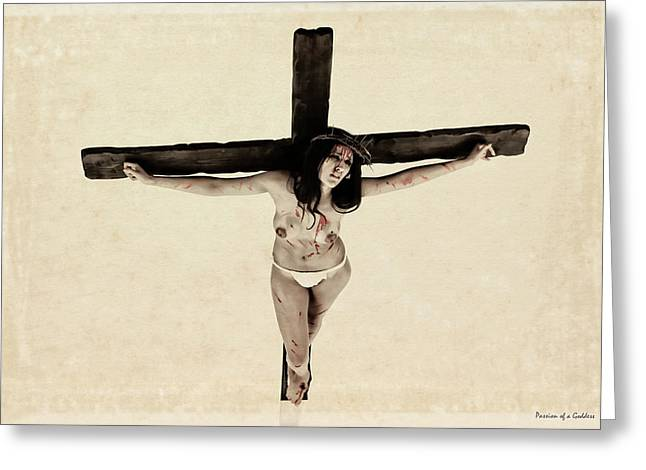 Suffering Of A Woman On Cross Greeting Card by Ramon Martinez