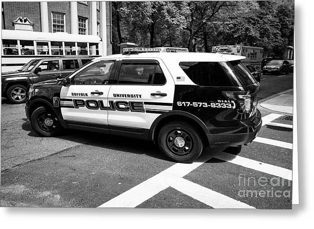 suffolk university campus police patrol vehicle Boston USA Greeting Card