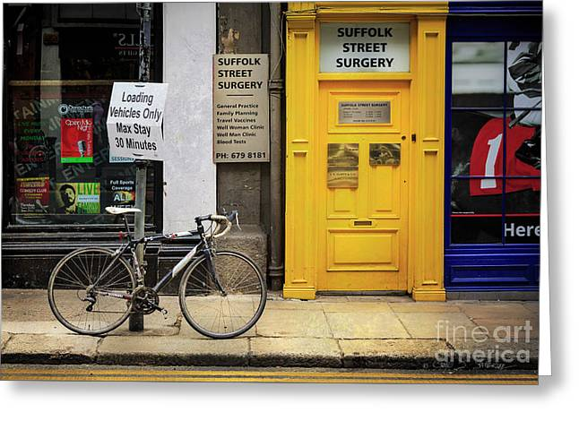 Greeting Card featuring the photograph Suffolk Street Surgery Bicycle by Craig J Satterlee