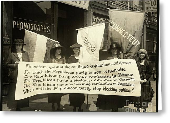 Suffragettes Picketing The Republican Convention, Chicago, June 1920 Greeting Card by Tina Lavoie