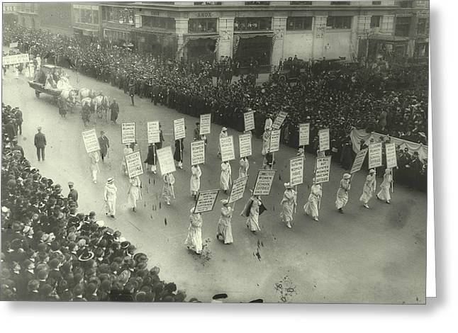 Political Rally Greeting Cards - Suffragists Marching in New York City Greeting Card by Padre Art