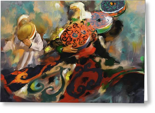 Sufi Whirling 450 2 Greeting Card by Mawra Tahreem