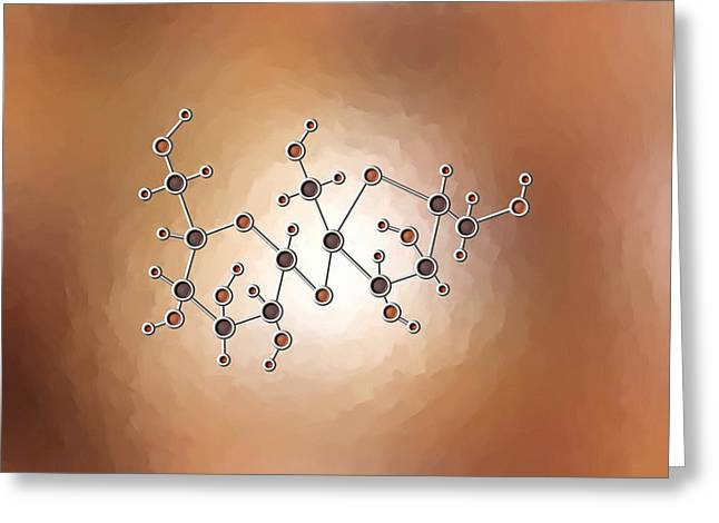 Glucose Greeting Cards - Sugar Molecule Greeting Card by Pet Serrano