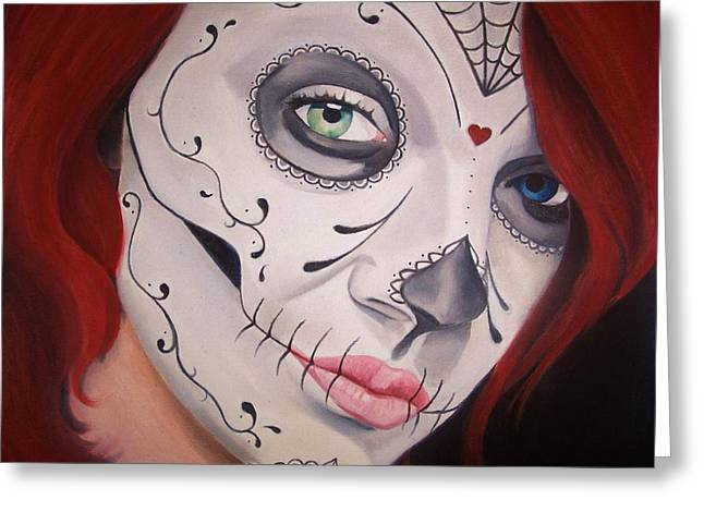 Sugar Skull Girl #1 Greeting Card by Brian Broadway