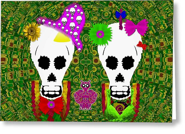 Sugarskull And Flowerskull And A Owl Greeting Card by Pepita Selles