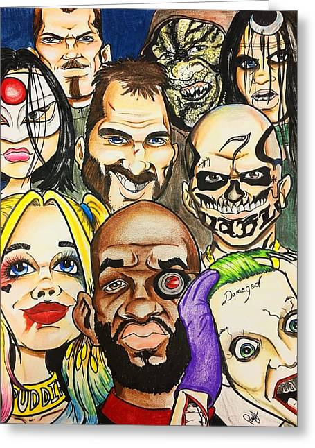 Suicide Squad Caricature Greeting Card by Trinket Elliott