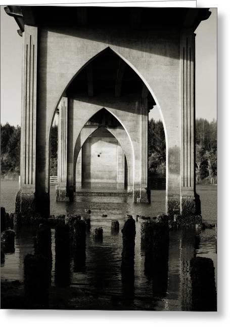 Suislaw River Bridge In Florence Oregon Greeting Card