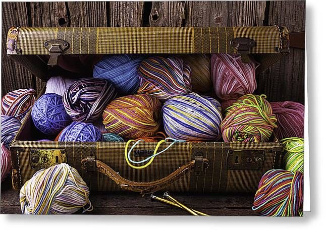 Suitcase Full Of Yarn Greeting Card by Garry Gay