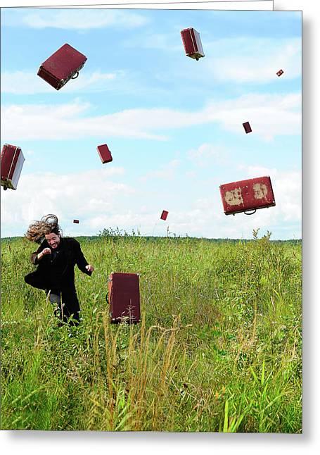 Suitcase Rain Greeting Card by Roman Rodionov