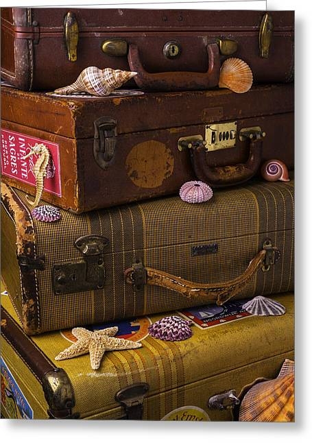 Aquatic Greeting Cards - Suitcases With Seashells Greeting Card by Garry Gay