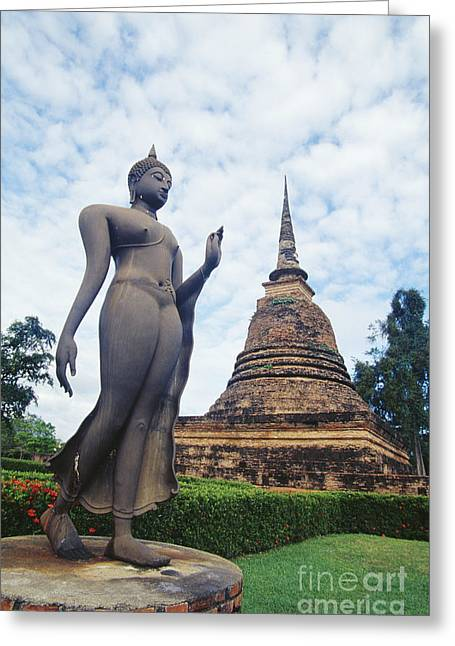 Sukhothai Historical Park Greeting Card by Bill Brennan - Printscapes