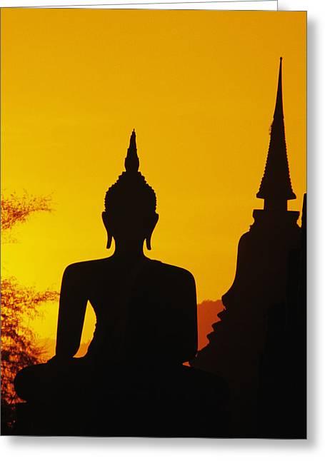 Sukhothai Temple Greeting Card by Gloria & Richard Maschmeyer - Printscapes