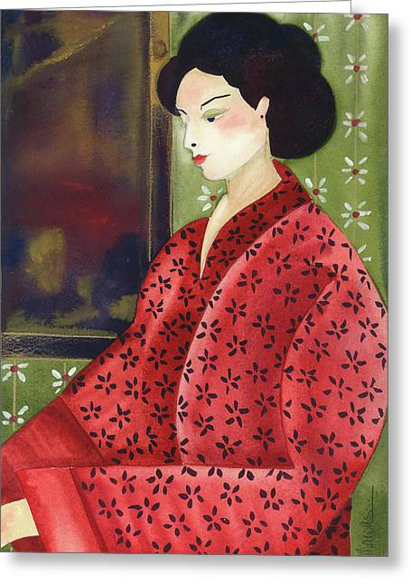 Portraits Tapestries - Textiles Greeting Cards - Suki Greeting Card by Leslie Marcus