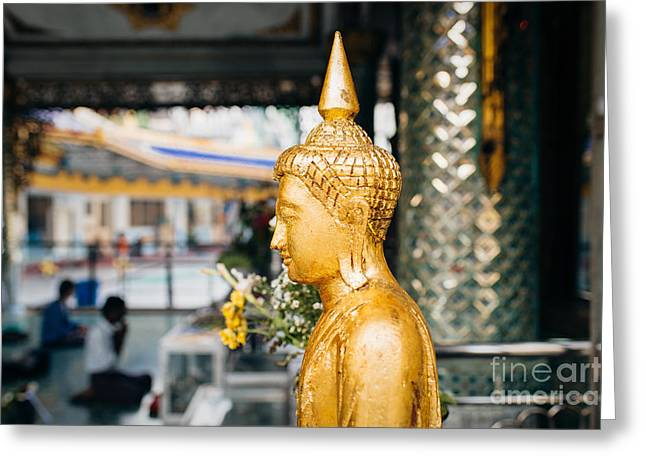 Greeting Card featuring the photograph Sule Pagoda Buddha by Dean Harte