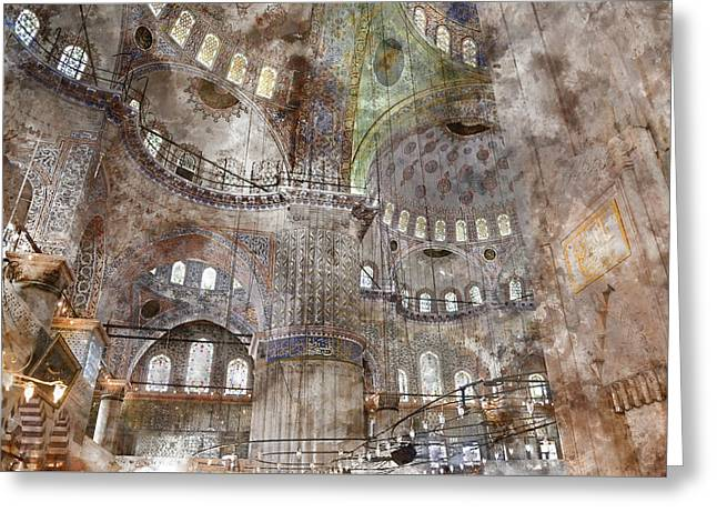 Sultanahmet Mosque Interior In Istanbul Turkey Greeting Card by Brandon Bourdages