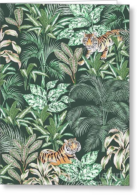 Sumatran Tiger, Green Greeting Card by Jacqueline Colley