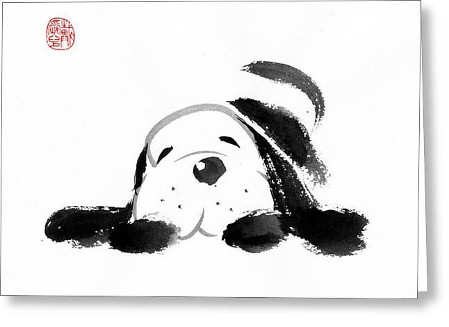 Sumi-e Dog Greeting Card