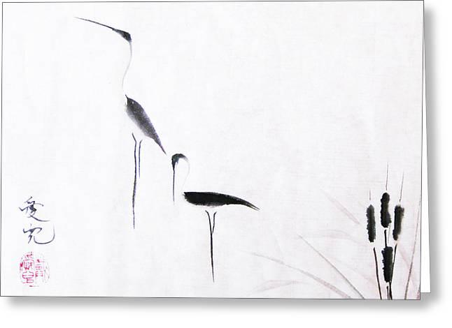 Sumi-e Egrets Greeting Card