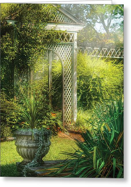 Summer Awnings Greeting Cards - Summer - Landscape - By the entrance of the Garden Greeting Card by Mike Savad