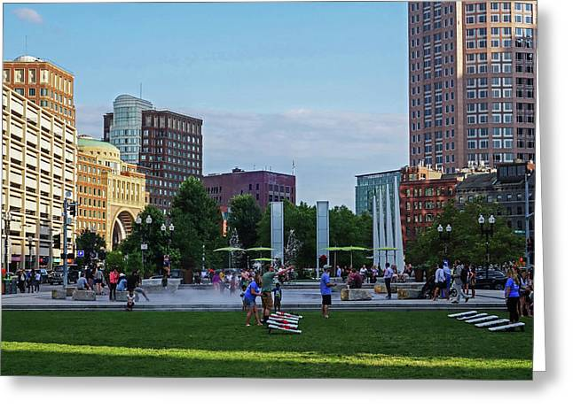 Summer Afternoon  On The Greenway Downtown Boston Atlantic Ave Greeting Card