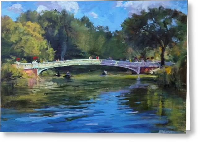 Summer Afternoon On The Lake, Central Park Greeting Card by Peter Salwen