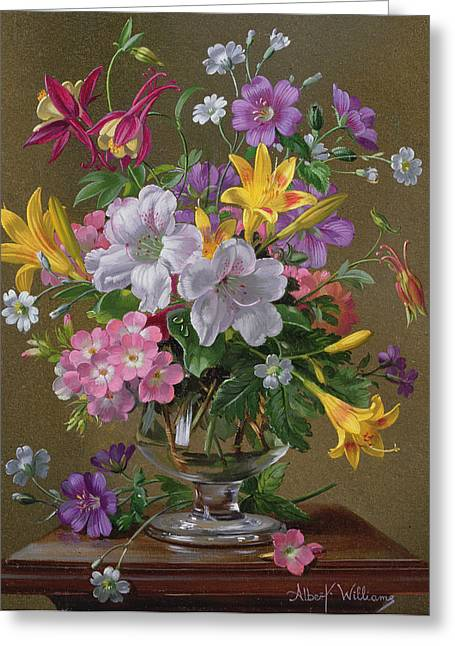 Summer Arrangement In A Glass Vase Greeting Card by Albert Williams