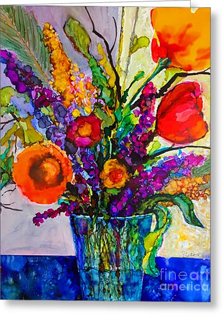 Greeting Card featuring the painting Summer Arrangement by Priti Lathia