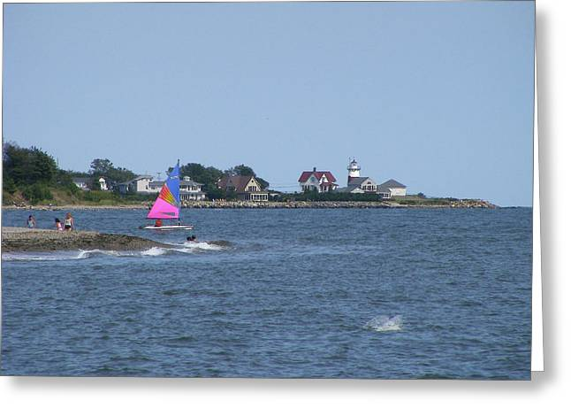 Stratford Ct Greeting Cards - Summer at Stratford Lighthouse Greeting Card by Margie Avellino