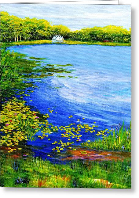 Summer At The Lake Greeting Card by Anne Marie Brown