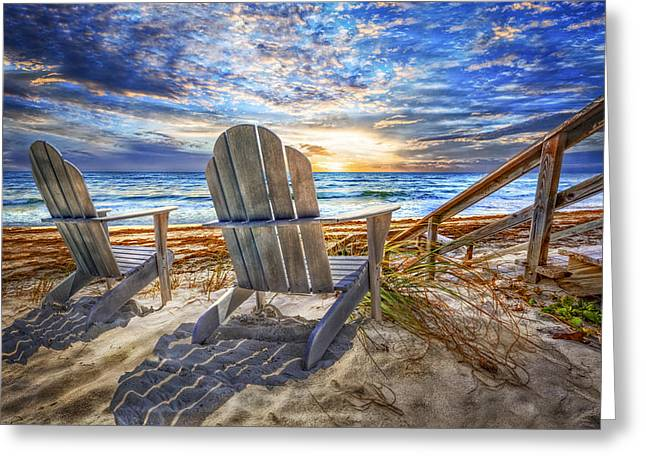 Summer At The Shore Greeting Card by Debra and Dave Vanderlaan