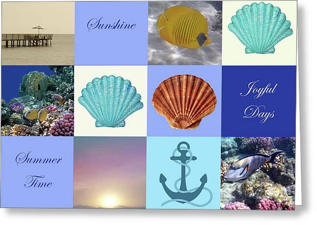 Summer Beach House Collage Greeting Card